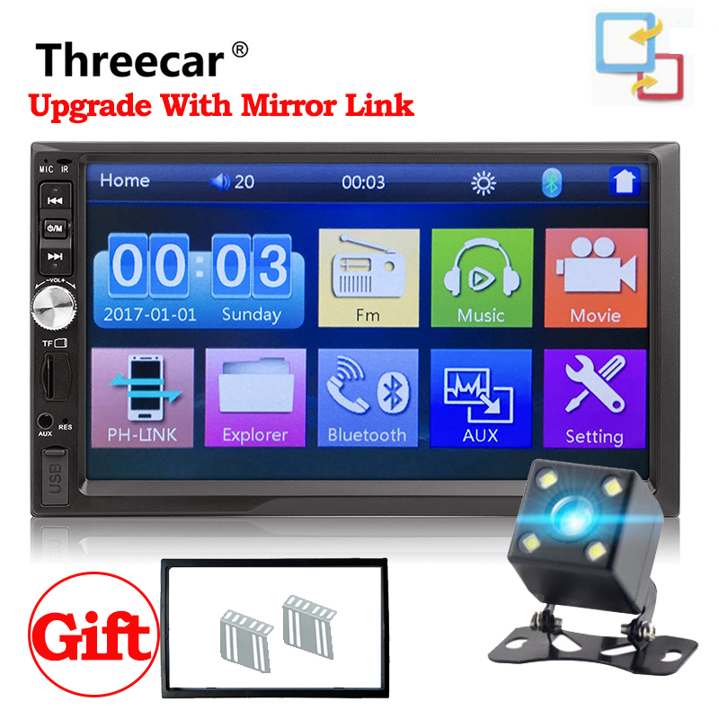 Universal Car Multimedia Player 7012B android Mirror 7Touch Car Radio BT MP5 Car autoradio Audio Stereo With Rear View Camera universal 4 3 inch rearview mirror with fm transmission and bt car rear view camera rv 430bf mirror monitor with fm and bt