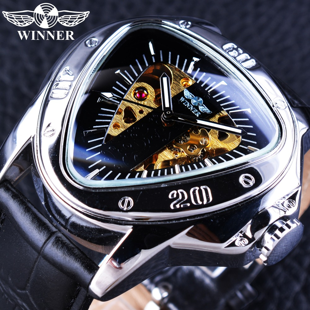 Winner Clock Mechanical Men Watches 2017 Luxury Brand Automatic Self-wind Wristwatch Triangle Dial Design Golden Skeleton Watch winner watch fashion black leather strap skeleton luxury design clock men watches top luxury mechanical wristwatch gift