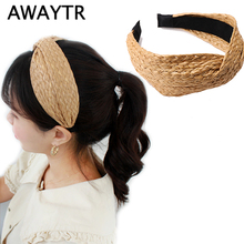 AWAYTR New Bohemian Summer Straw Weaving Knot Hairband for Women Fashion Cross Handmade Headband Girls Hair Accessories