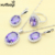 Nova Moda 925 Conjuntos de Jóias de Prata Ametista Roxo Criado Elegante Colar Anéis Brincos Pulseira Para As Mulheres