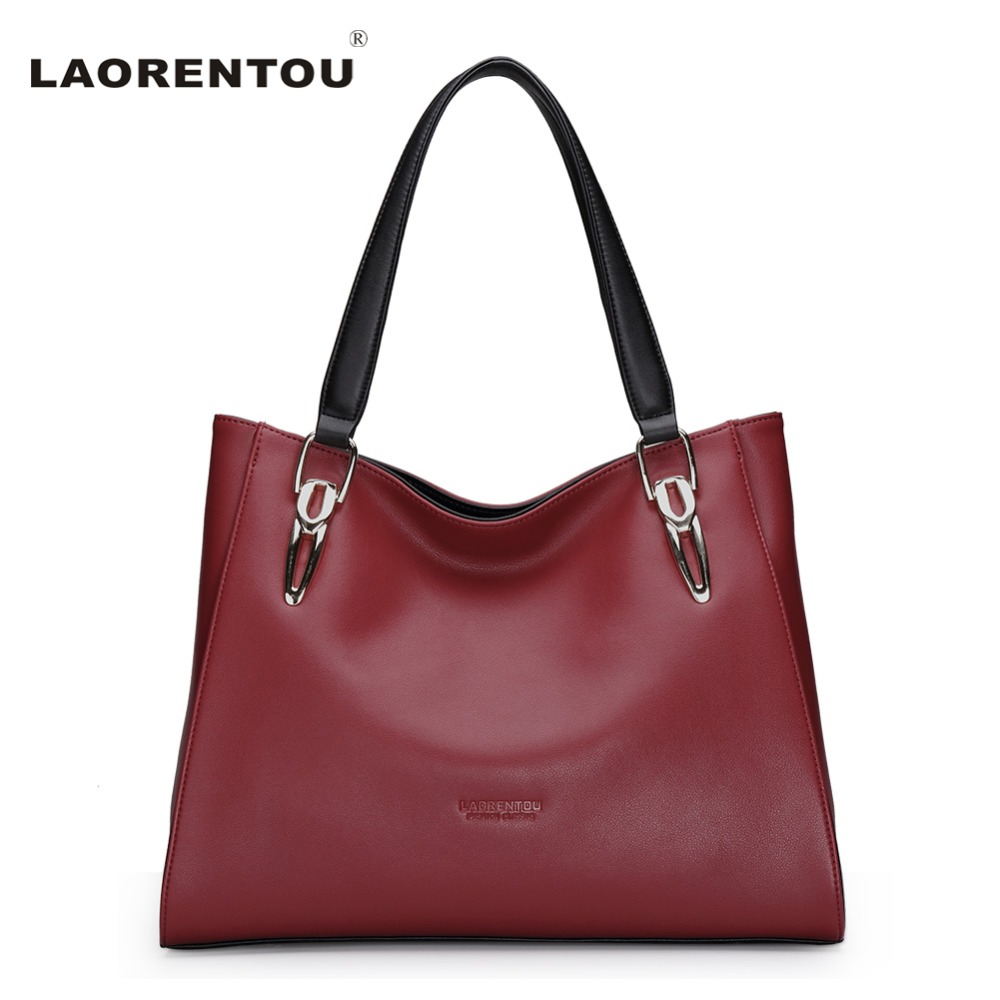 ФОТО LAORENTOU Brand Fashion Cowhide Leather Women's Handbags Luxury Red Black Shoulder Bag Larger Capacity Women Leather Bag N5