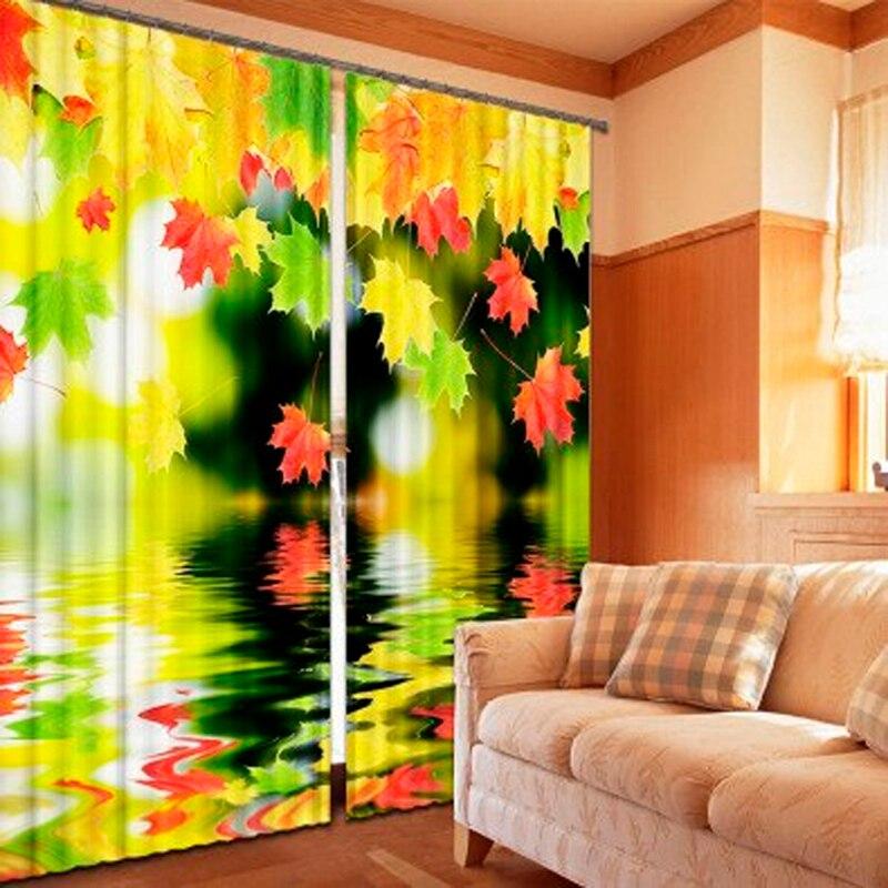 Tende foto camera da letto personalizzato personalizzati di stampa acqua di riflessione Maple Leaf