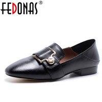 FEDONAS Nuove Signore di Modo Scarpe Basse Carino Genuino Metallo Fibbia In pelle Nero Rosa Comode Fannullone Flats Shoes Big Size