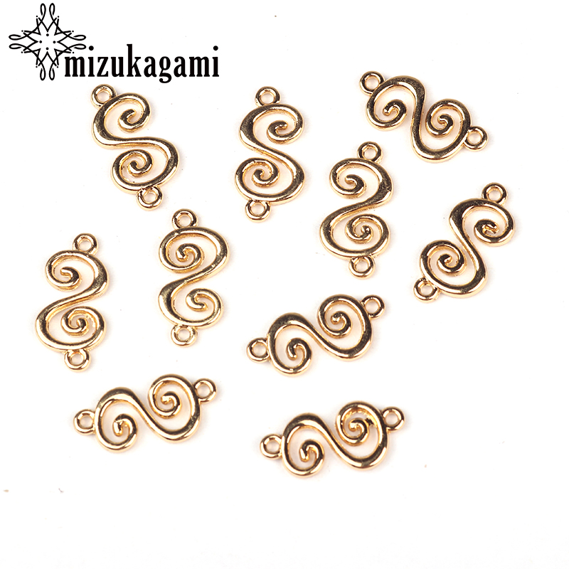 20pcs/lot Zinc Alloy Gold Spiral Mini Flowers Charms Pendants Connector For DIY Jewelry Necklace Making Accessories