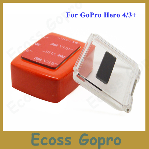 Gopro hero 4/3+ backdoor case cover +Floaty Float Box+3M Adhesive Anti Sink Sticker For go pro hero3+/4