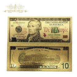 10 шт./лот цветные США золотые банкноты 10 долларов копия банкнот позолоченный бизнес Подарочная коллекция