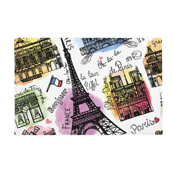 Building France Eiffel Tower Watercolor Anti-slip Floor Mat Carpet Bathroom Living Room Kitchen Door 16x30Gift