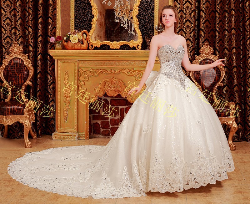 Luxury Import crystal diamond ball gown beaded big train strapless ...