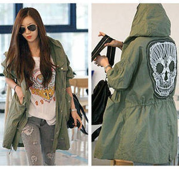 New Lady Womens Military Parka Button Skull Back Hooded Jacket Coat