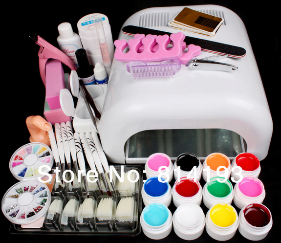 New Pro 36W UV GEL White Lamp & 12 Color UV Gel Nail Art Tools Sets Kits