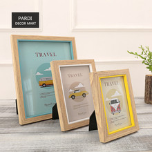 6inch, 7inch, 10inch Blue Yellow 3 piece set wood photo frame home decoration 1set/lot