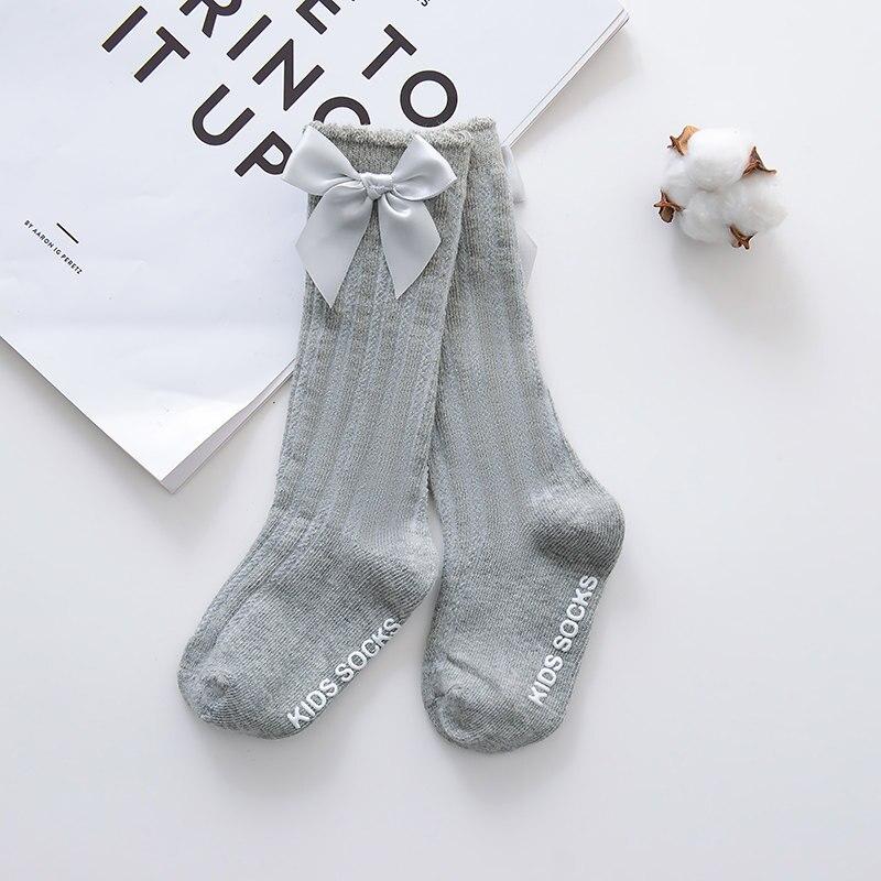 Новые детские носки гольфы с большим бантом для маленьких девочек, мягкие хлопковые кружевные детские носки kniekousen meisje, Прямая поставка#30 - Цвет: bowknot gray