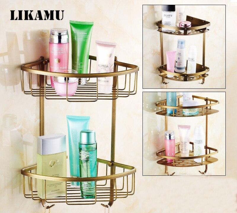 Two Layer Space brass Towel Washing Shower Basket Bar Shelf Wall ...