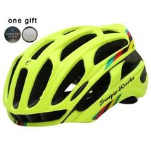 LED Warning Lights Cycling Helmet Mountain and Road Bicycle Helmet or In-mold Bike Helmet 54-63 CM 34 Air Vents