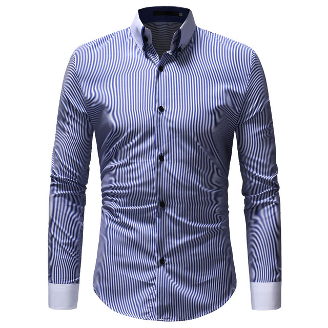 Marca 2018 moda masculina camisa de manga larga Tops rayas verticales Mens  camisas de vestir Slim e573f473afc