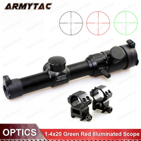 Hunting Air Rifle scope Green Red Illuminated 1 4x20 Range Finder Reticle Rifle scope Sight with Scope caza 25.4mm Rail Mount