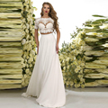 Vestido De Noiva Romantic Beach Two Pieces Wedding Dress Custom Made A-Line Chiffon Lace Cap Sleeve Spring Bridal Gowns 2016 New