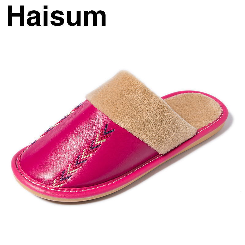 Women Slippers Winter Leather sheepskin Thick Home Indoor Non-slip Thermal Slippers 2018 New Hot Sale  YQ004