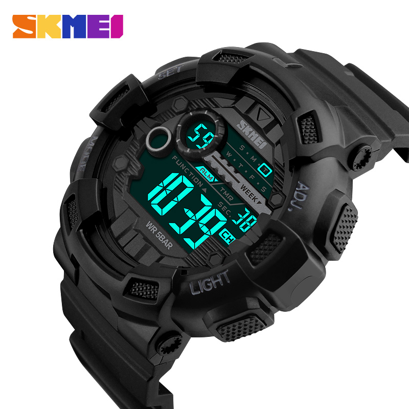 SKMEI Brand Men Sports Watches 50M Waterproof LED Digital Watch Dive Swim Outdoor Shock Military Man Wristwatches New 2018