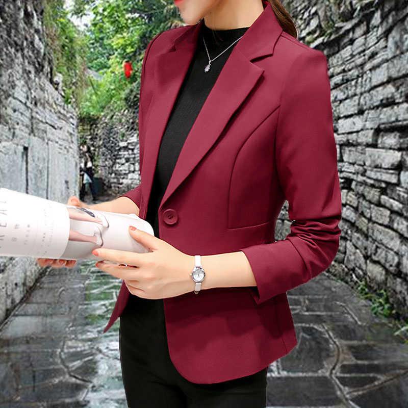 女性ブレザー長袖スリムブレザー Feminino プラスサイズ固体コート女性ジャケット女性黒ブルーピンクブレザーファムフォーマル