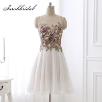 Real Photos Little White Chiffon Cocktail Dresses With Lace Appliques Short Prom Dress Above Knee Graduation