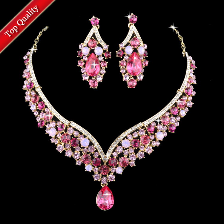 Champagne Gold Plated Indian Style Pink Rhinestone