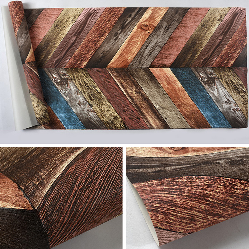Купить с кэшбэком Modern 3D Wood Wallpapers Home Decor Nordic 3D Wall Murals Vintage Blue Background Wall Paper Roll for Walls Bar Wall Covering
