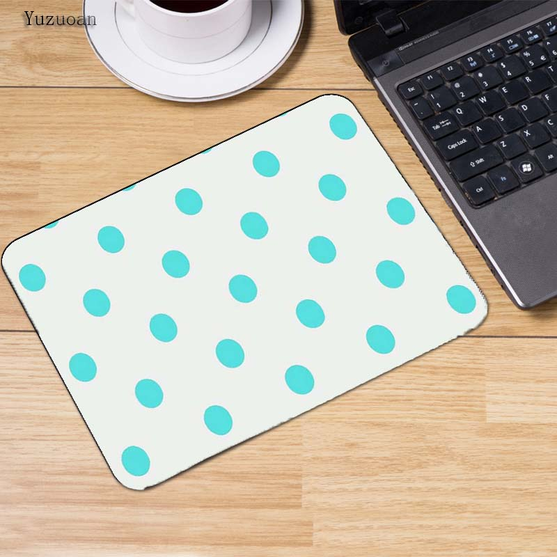 Yuzuoanart Abstract Polka dot white Balls Red gaming Mouse Pad Table mat With Lock Edge for PC computer laptop Mat Size 18*22cm