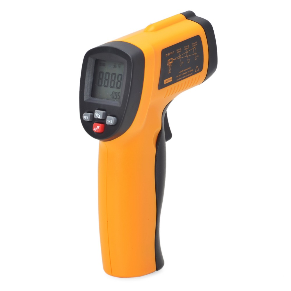 Digital Non-contact 12:1 Digital Infrared Thermometer IR Laser Temperature Gun Tester -50~550C Adjustable 0.95 Pyrometer GM550E