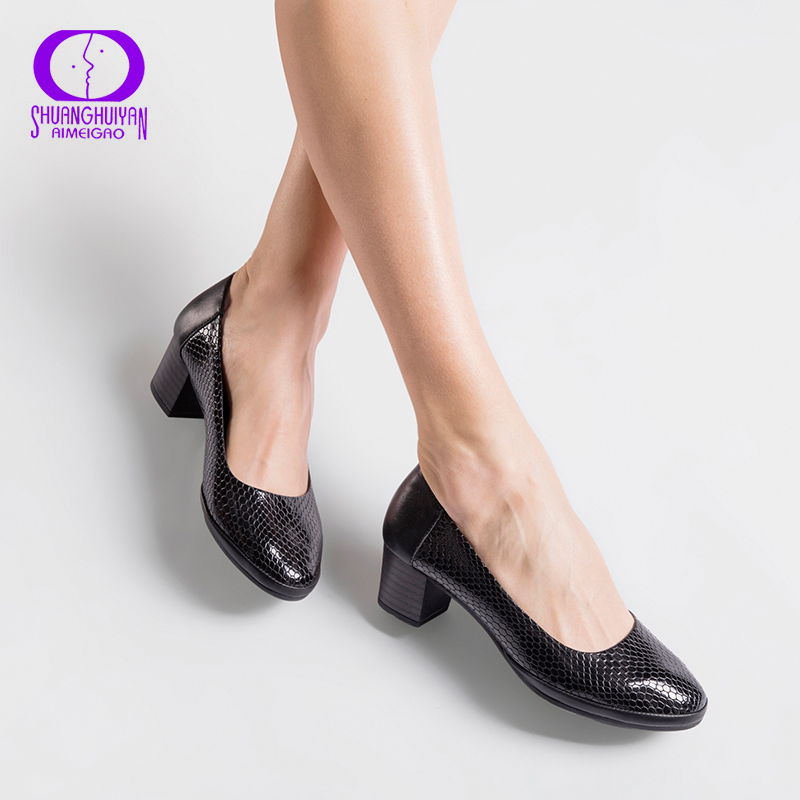 AIMEIGAO High Quality Soft Leather Pumps Women Shoes Comfortable Thick High Heels Pumps Autumn Spring Big Size Shoes For Women