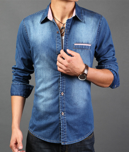 Best Quality Denim Shirt Men Slim Fit With Long Sleeve Fashion ...