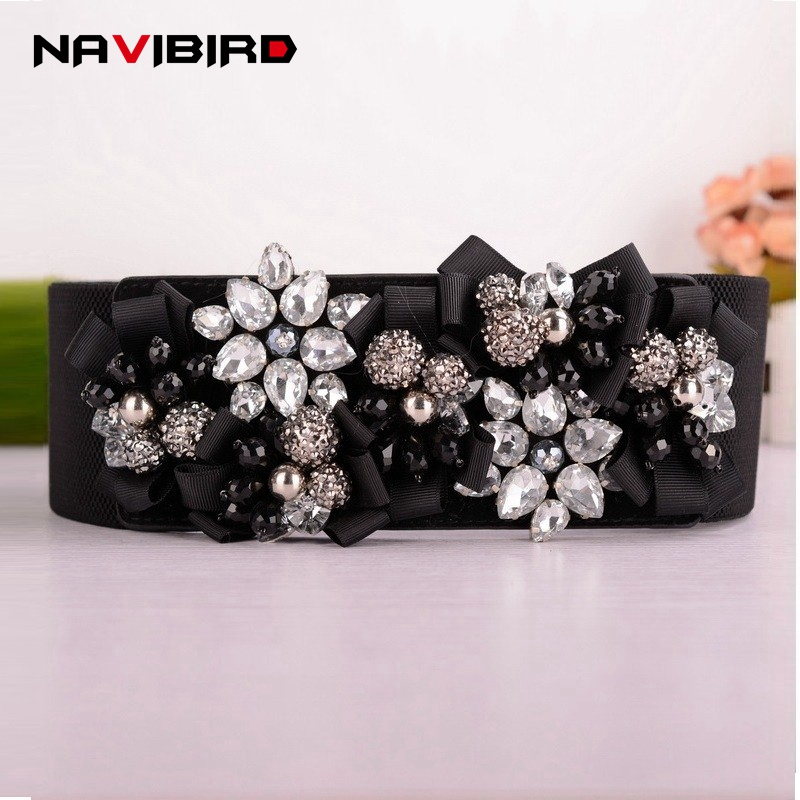 Women Belts Luxury Rhinestones Flower Belt Ladies Wide Metal Buckle Stretchy Corset Elastic Belt Waistband Belts