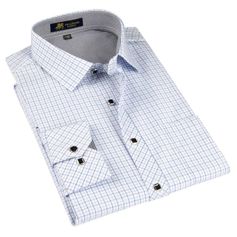 男性格子縞のシャツ長袖男性のチェック柄ドレスシャツ春の秋のファッションカジュアルシャツホームオフィス服ブランドの高品質