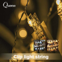 5M LED Card Photo Clip String Lights Colorful Crystal Festival Wedding Fairy Lamp Home Christmas Decoration