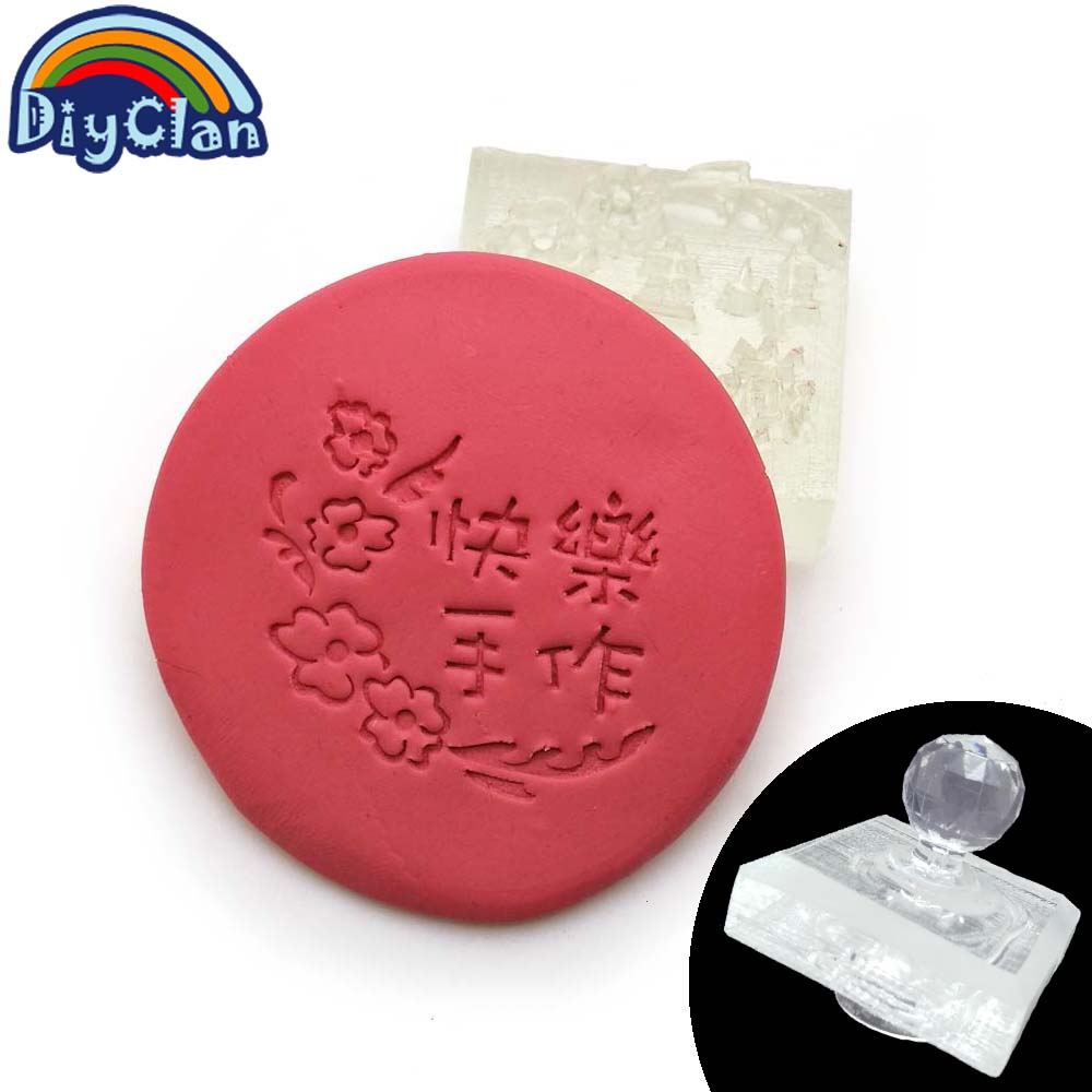 Happy hand logo Handmade soap stamp chapter flower pattern Acrylic chapter soap making mold Z0095SZ