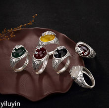 KJJEAXCMY Boutique jewelry S990 pure silver, antique, matte lotus mosaic, lady's high-end Joker ring