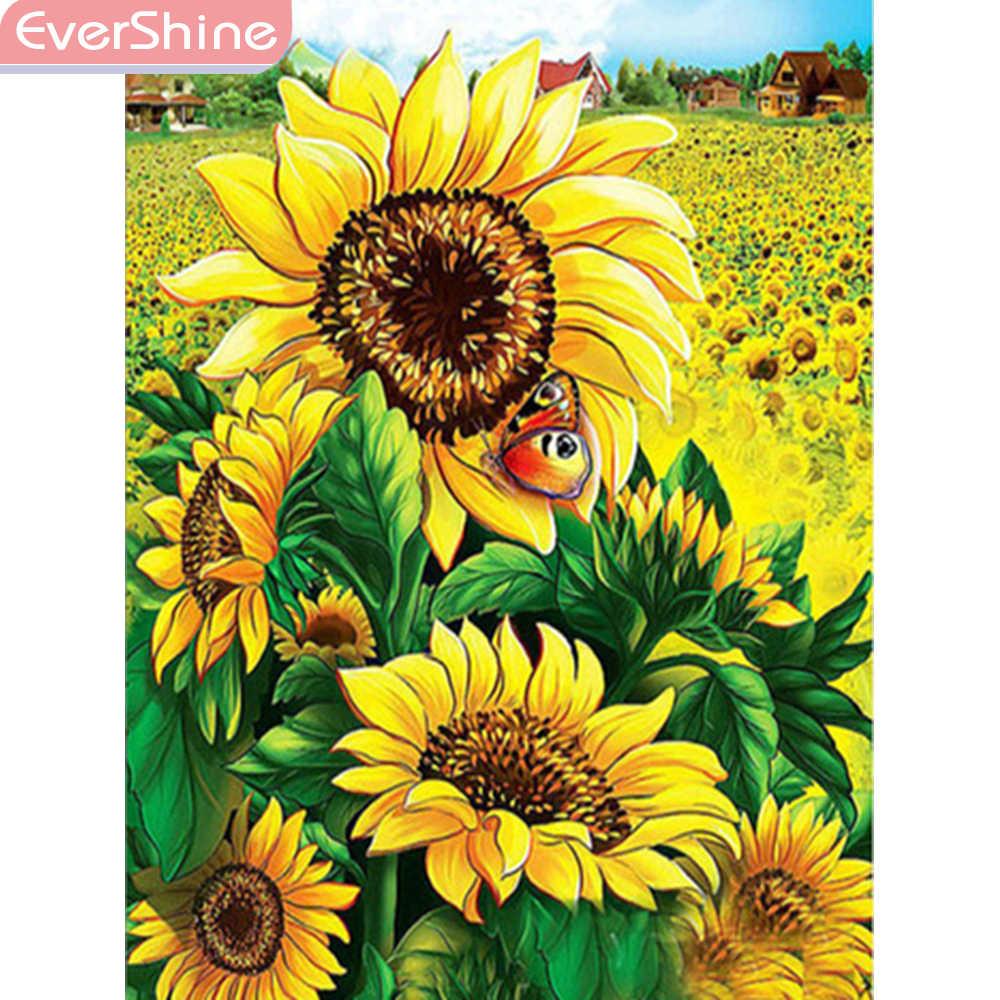 Evershine 5d Bunga Matahari Diamond Lukisan Bunga Diamond Bordir Layar Penuh Gambar Rhinestones Mosaik Diamond Dekorasi Rumah Berlian Lukisan Cross Stitch Aliexpress