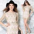 Summer dress 2016 nueva delgado encaje bordado delgado mujeres dress sexy organza moda dress vintage vestidos de fiesta de manga corta