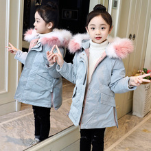2019 Girls Winter Coat High Quality Kids Outerwear Parka Down Jacket Hooded Fur Collar Outdoor Warm Long Coats Children Clothes new 2016 children boys winter long down coat hooded fur puffer jacket kids thick warm coats windproof parka snowday outwear