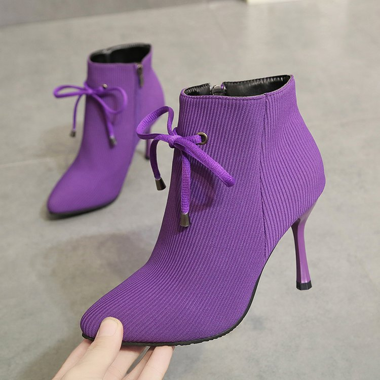 Women Boots Corduroy Butterfly-knot Boots Sexy High Heels Party Shoes Winter plus velvet Keep Warm Female Boots zapatos de mujer