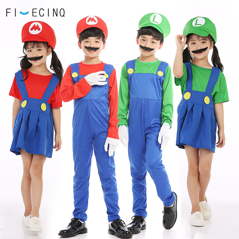 Home Mario Brother Cosplay Coustme Children Boy Girl Cartoon Game Funny Jumpsuit Halloween Party Masquerade Fancy Outfit