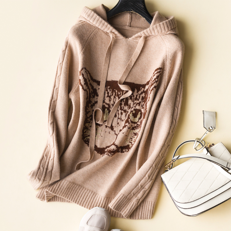 Thai wool yarn warm exquisite loose casual hooded women's 18 autumn