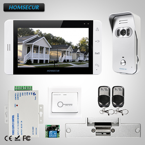 HOMSECUR 7 Video Door Entry Security Intercom+Monitor for House/Flat:L1:TC021-S Camera(Silver)+TM703-W Monitor(White)+Lock