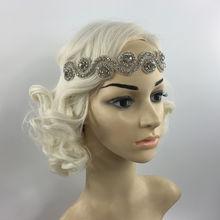Повязка на голову Серебристая с кристаллами в стиле 1920 х Гэтсби