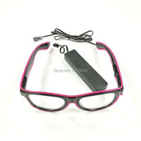 30Pieces Wholesale EL Wire Glowing Glasses for Holiday Lighting Decoration Supplies with Sound active Driver 10Colors Choice