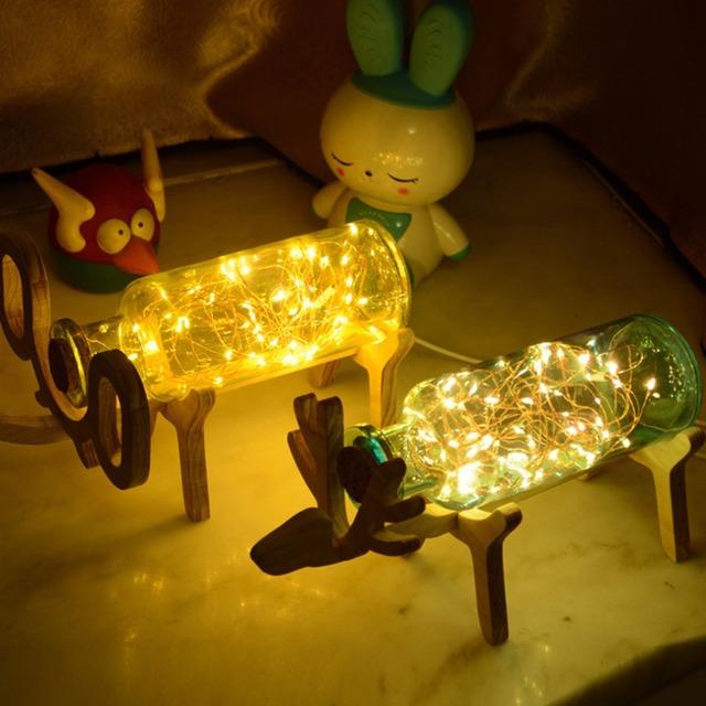 Criativo de Madeira Feitos À Mão Veados Fogos de Artifício 3D Criativo Luz Da Noite Da Lâmpada LED Power Bank Powerbank Lâmpadas de Decoração de Casamento 2016 Hot