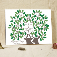 Canvas Printing Customized Signature Guestbook Wood Fingerprint Tree Guest Book Wedding Gifts for Guests Antelope Pattern