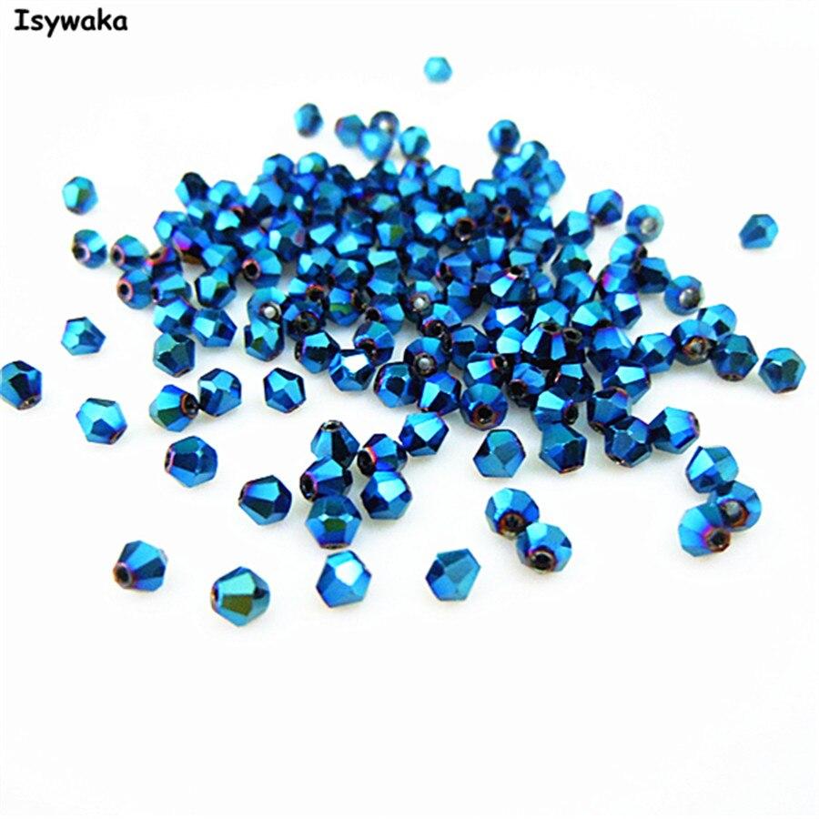 Isywaka Vente Brillant Bleu Couleur 720 pcs 3mm Toupie Autriche Cristal Perles Perles de Verre Lâche Spacer Perle pour DIY Fabrication de bijoux