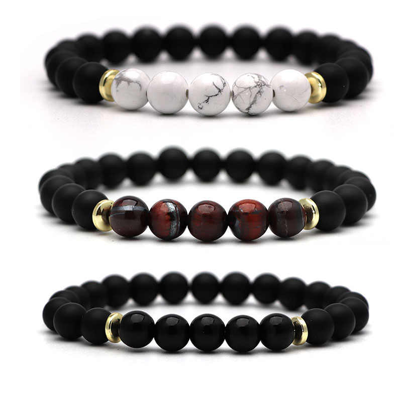 Lava Rosary Men's Energy Elastic Rope Bangles 8mm Tiger Eye Bead Natural Stone Yoga Bracelet For Women Christmas Jewellery