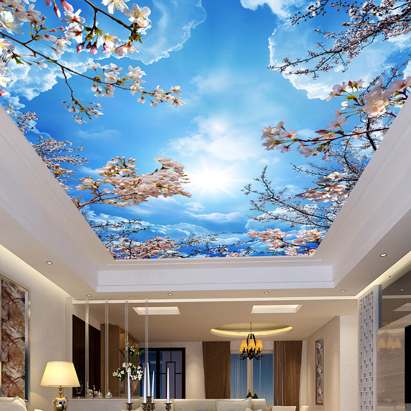 Custom Wall Mural Painting Blue Sky White Clouds Peach Blossom Ceiling Modern Designs 3D Living Room Bedroom Ceiling Wallpaper blue sky ceiling wallpaper murals modern 3d wallpaper for living room bedroom wisteria flower wallpaper brick ceiling wall